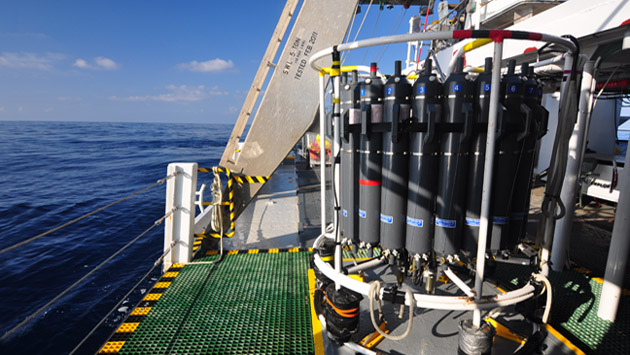 <p> 	The Conductivity, Temperature, Depth (CTD) rosette aboard the R/V <em>Atlantic Explorer</em>.</p>