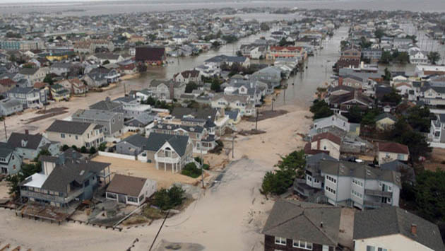 <p> 	Hurricane Sandy storm surge on the coast of New Jersey. Source: NOAA</p>