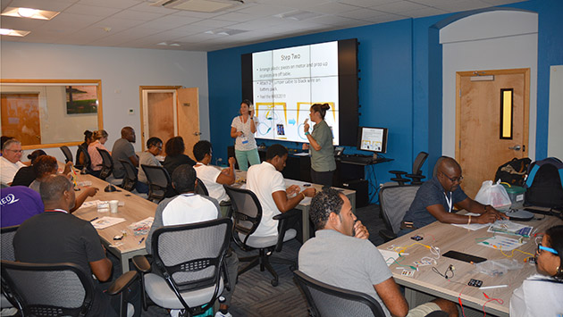 <p> 	40 public school teachers took part in a two-day training at BIOS, part of the 2017 Bermuda Union of Teachers annual professional development conference. The workshop, offered under MARINE, introduced participants to components of the beginner remotely operated vehicle (ROV) competition, including the construction of simple circuits and soldering.</p>