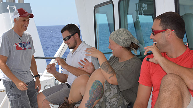 Marine techs relax after a long cruise