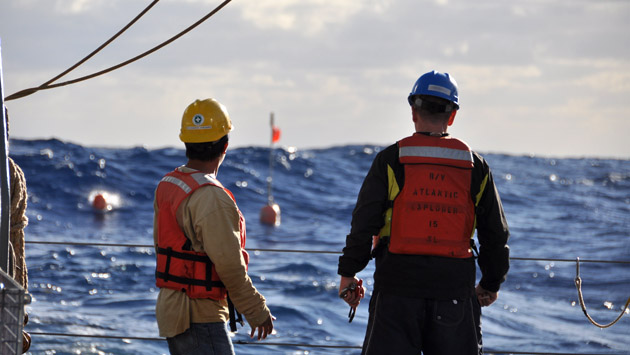 <p> 	Working aboard the R/V <em>Atlantic Explorer</em>.</p>
