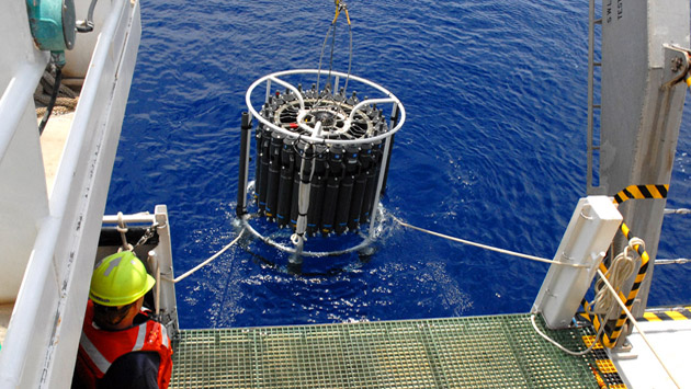 <p> 	A Conductivity, Temperature, Depth (CTD) deployment.</p>