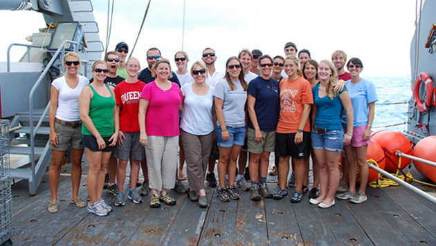 <p> 	Scientists and technicians aboard a Trophic BATS cruise.</p>