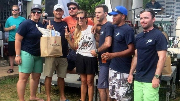 <p> Selange Gitschner and Matthew Strong present awards at the 2016 Groundswell Lionfish Tournament.</p>
